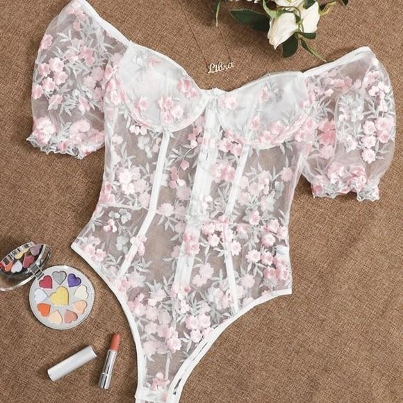 Flower embroidered mesh bodysuit